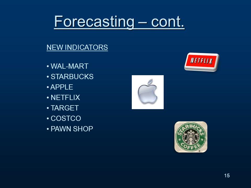 NEW INDICATORS WAL-MART STARBUCKS APPLE NETFLIX TARGET COSTCO PAWN SHOP 15 Forecasting – cont.