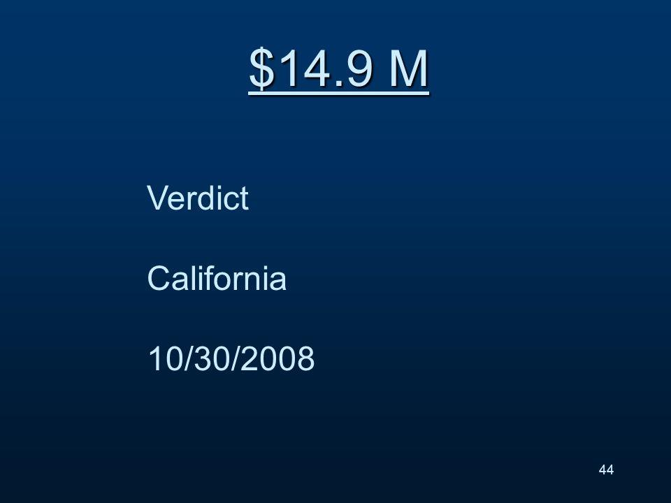 Verdict California 10/30/2008 $14.9 M 44