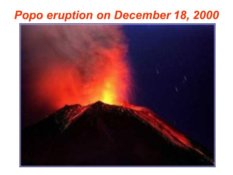 Popo eruption on December 18, 2000