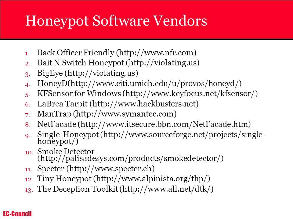 EC-Council Honeypot Software Vendors 1. Back Officer Friendly (http://www.nfr.com) 2. Bait N Switch Honeypot (http://violating.us) 3. BigEye (http://v