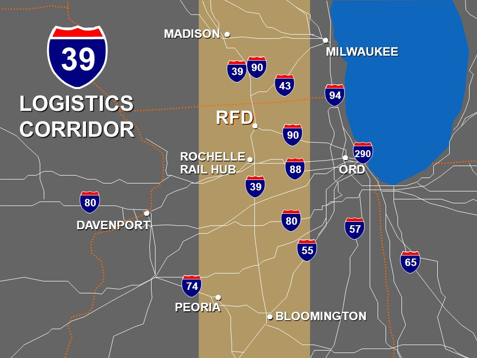 RFD is Strategically Located 58 nautical miles; 68 highway miles Northwest of Chicago OHare Only a 90-minute drive (measured over 288 truck round-trip
