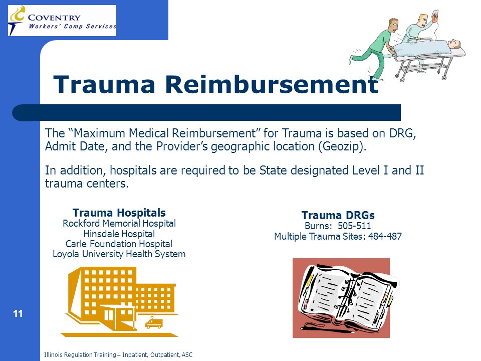 Illinois Regulation Training – Inpatient, Outpatient, ASC 11 Trauma Reimbursement The Maximum Medical Reimbursement for Trauma is based on DRG, Admit