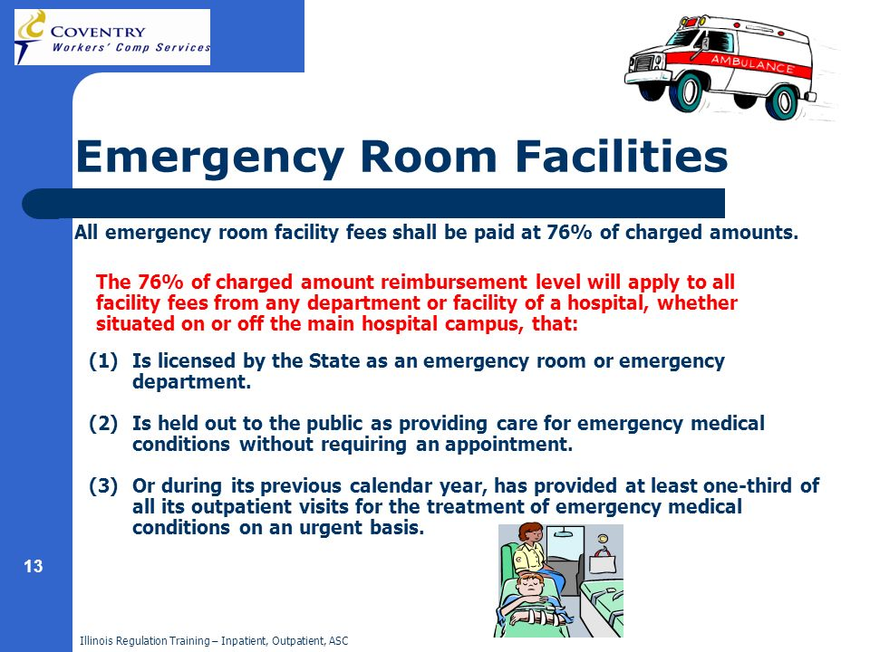 Illinois Regulation Training – Inpatient, Outpatient, ASC 13 Emergency Room Facilities (1)Is licensed by the State as an emergency room or emergency d