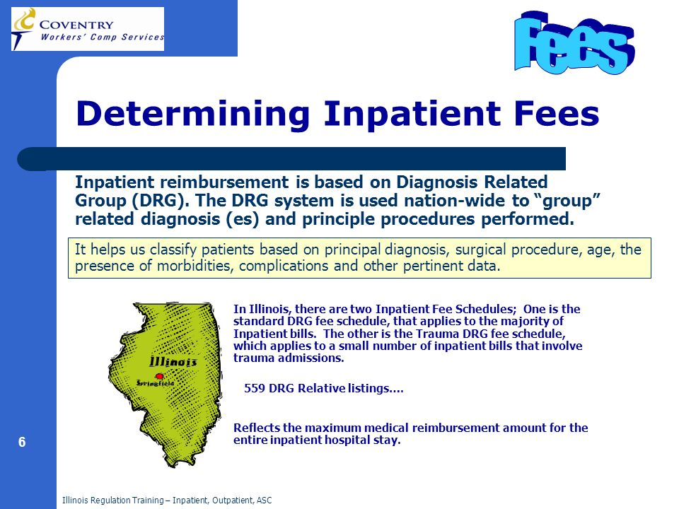 Illinois Regulation Training – Inpatient, Outpatient, ASC 6 Determining Inpatient Fees Inpatient reimbursement is based on Diagnosis Related Group (DR