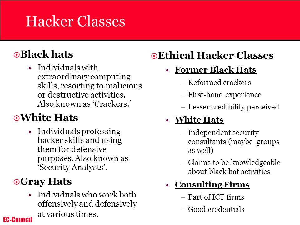 EC-Council Hacker Classes Black hats Individuals with extraordinary computing skills, resorting to malicious or destructive activities. Also known as