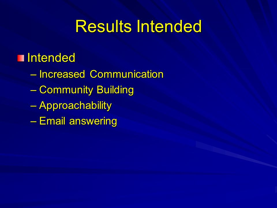 Results Intended Intended –Increased Communication –Community Building –Approachability –Email answering