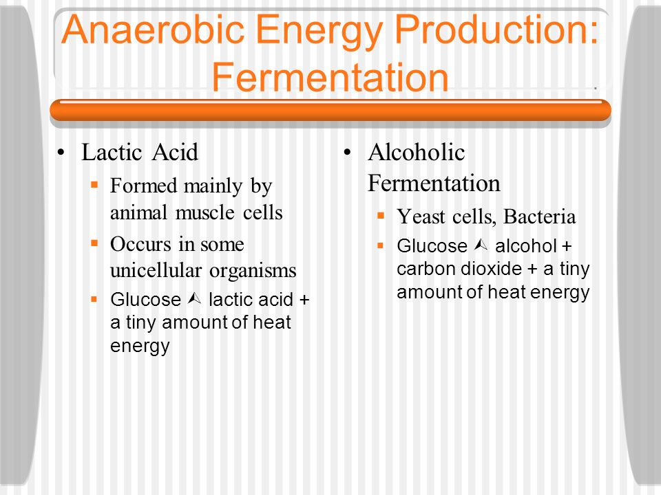 Anaerobic Respiration Occurs if there is a lack of oxygen available for aerobic respiration Glucose is incompletely broken down In this type of respir