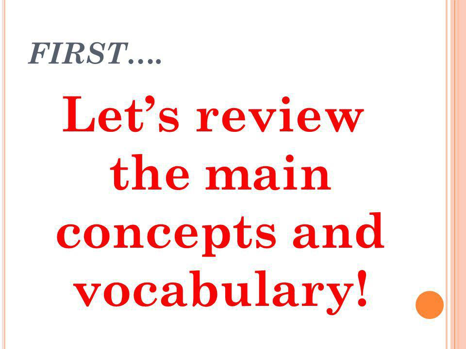 FIRST…. Lets review the main concepts and vocabulary!