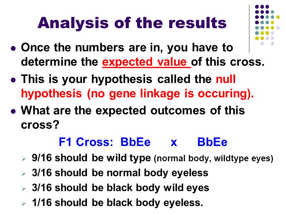 Analysis of the results Once the numbers are in, you have to determine the expected value of this cross. This is your hypothesis called the null hypot