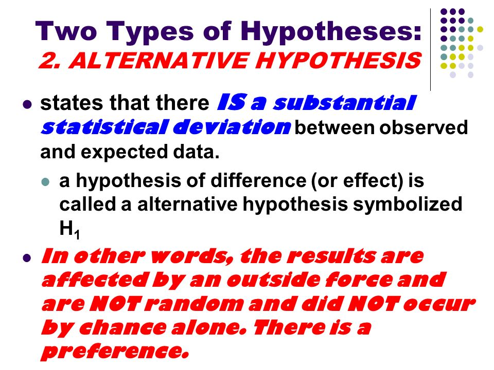 Two Types of Hypotheses: 2. ALTERNATIVE HYPOTHESIS states that there IS a substantial statistical deviation between observed and expected data. a hypo