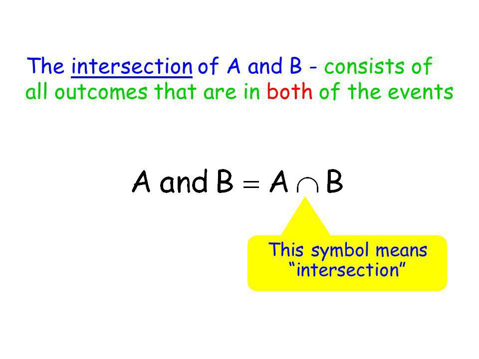The intersection of A and B - consists of all outcomes that are in both of the events This symbol means intersection