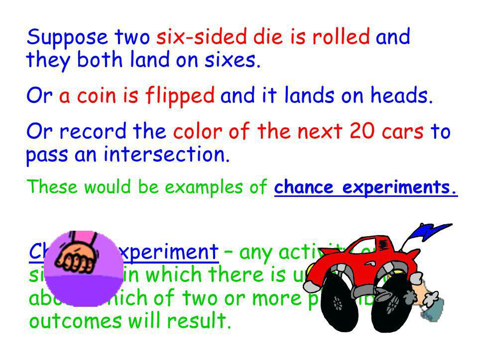 Sample space - the collection of all possible outcomes of a chance experiment Suppose a six-sided die is rolled.