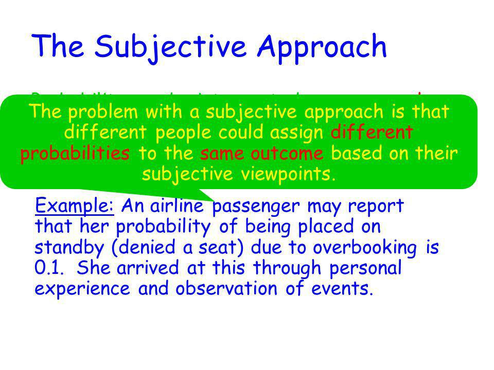 The Subjective Approach Probability can be interpreted as a personal measure of the strength of belief that a particular outcome will occur. Example: