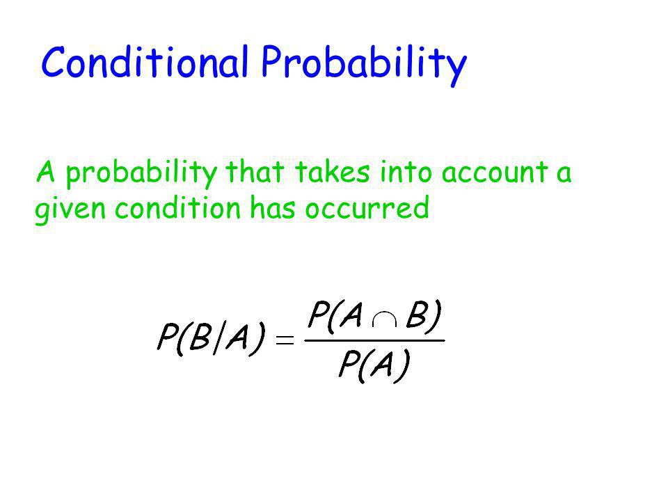 Conditional Probability A probability that takes into account a given condition has occurred