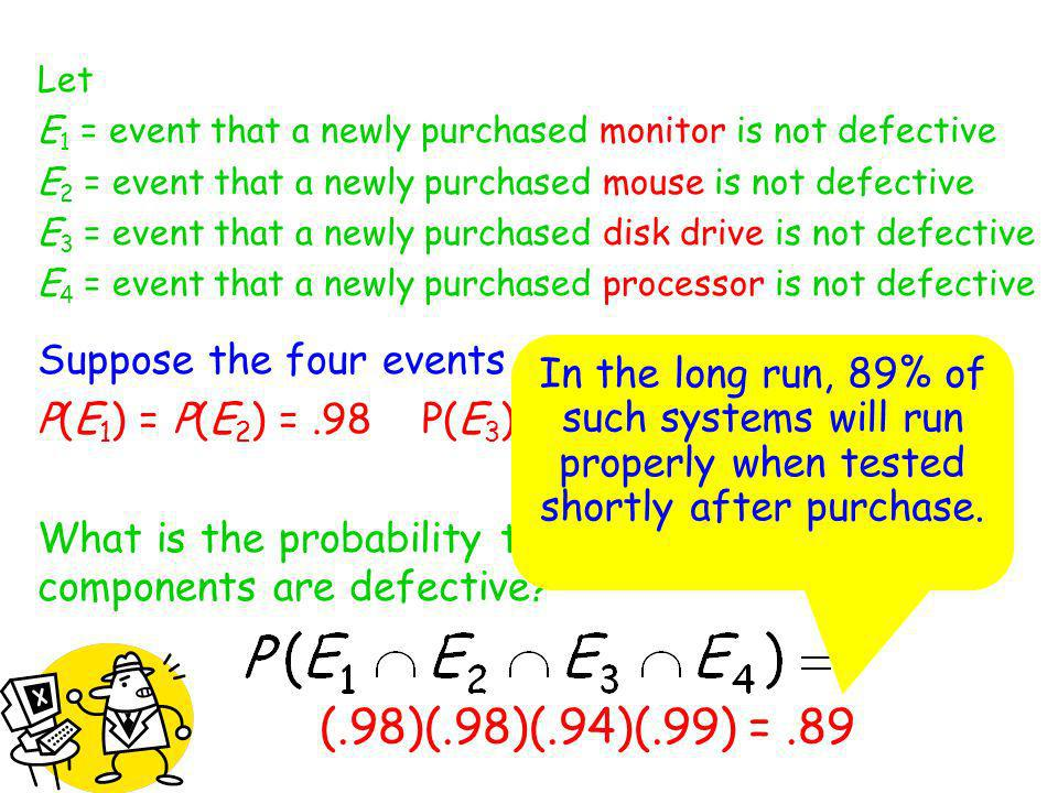 Let E 1 = event that a newly purchased monitor is not defective E 2 = event that a newly purchased mouse is not defective E 3 = event that a newly pur
