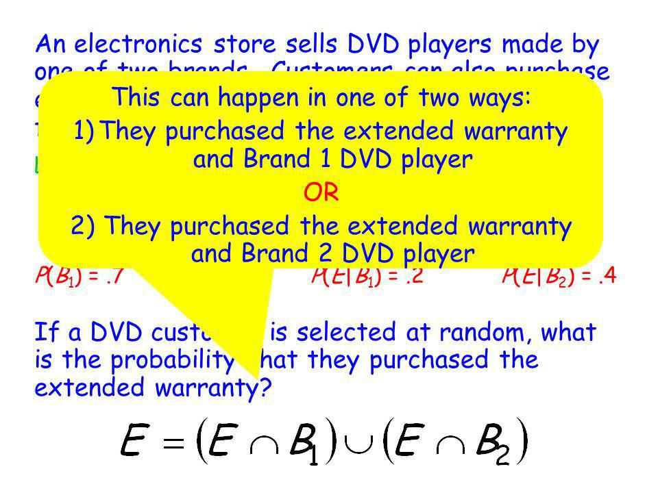 An electronics store sells DVD players made by one of two brands. Customers can also purchase extended warranties for the DVD player. The following pr