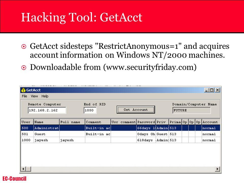 EC-Council Hacking Tool: GetAcct GetAcct sidesteps