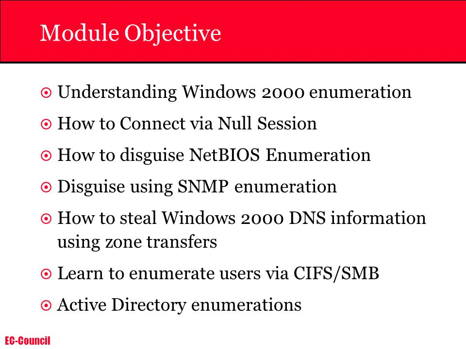EC-Council SNMP Enumeration Countermeasures Simplest way to prevent such activity is to remove the SNMP agent or turn off the SNMP service.