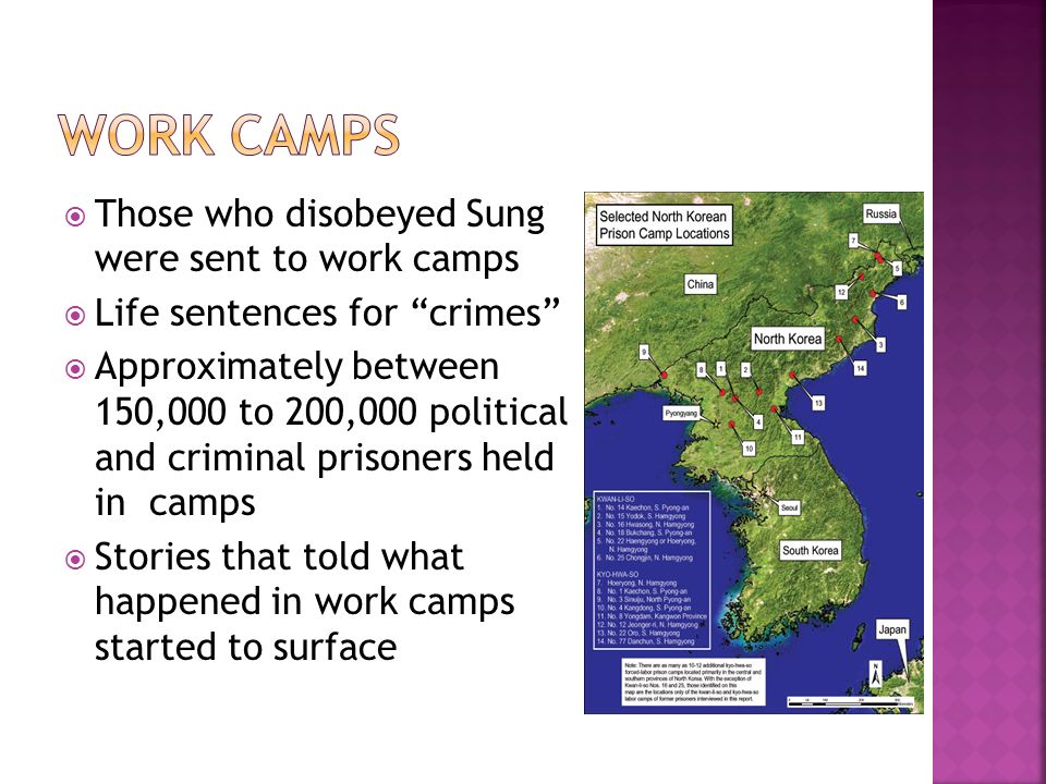 Those who disobeyed Sung were sent to work camps Life sentences for crimes Approximately between 150,000 to 200,000 political and criminal prisoners h
