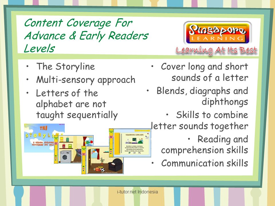Content Coverage For Advance & Early Readers Levels The Storyline Multi-sensory approach Letters of the alphabet are not taught sequentially Cover long and short sounds of a letter Blends, diagraphs and diphthongs Skills to combine letter sounds together Reading and comprehension skills Communication skills i-tutor.net Indonesia