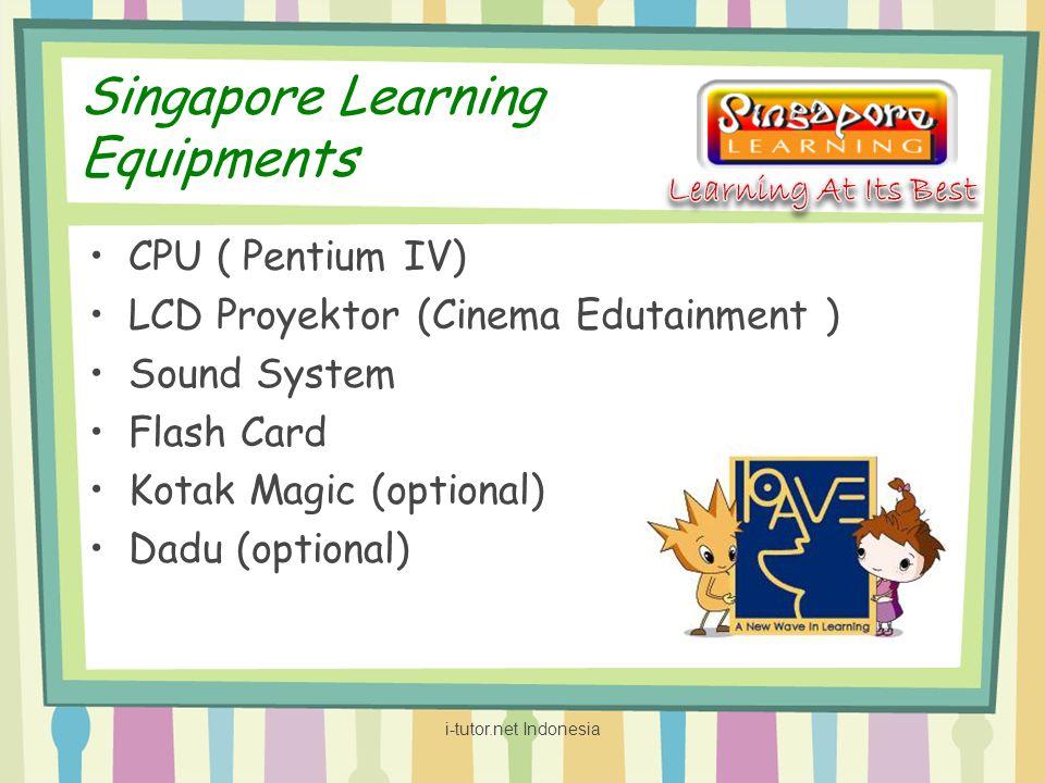 Singapore Learning Equipments CPU ( Pentium IV) LCD Proyektor (Cinema Edutainment ) Sound System Flash Card Kotak Magic (optional) Dadu (optional) i-t