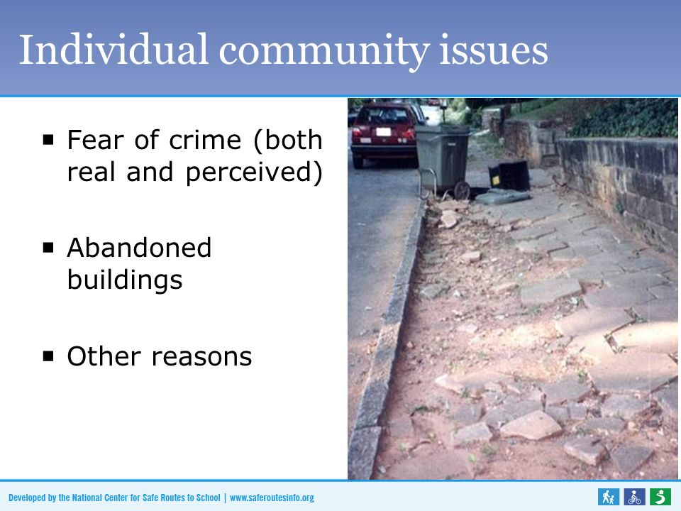 Fear of crime (both real and perceived) Abandoned buildings Other reasons Individual community issues
