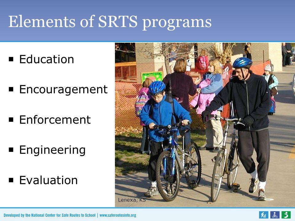 Elements of SRTS programs Education Encouragement Enforcement Engineering Evaluation Lenexa, KS