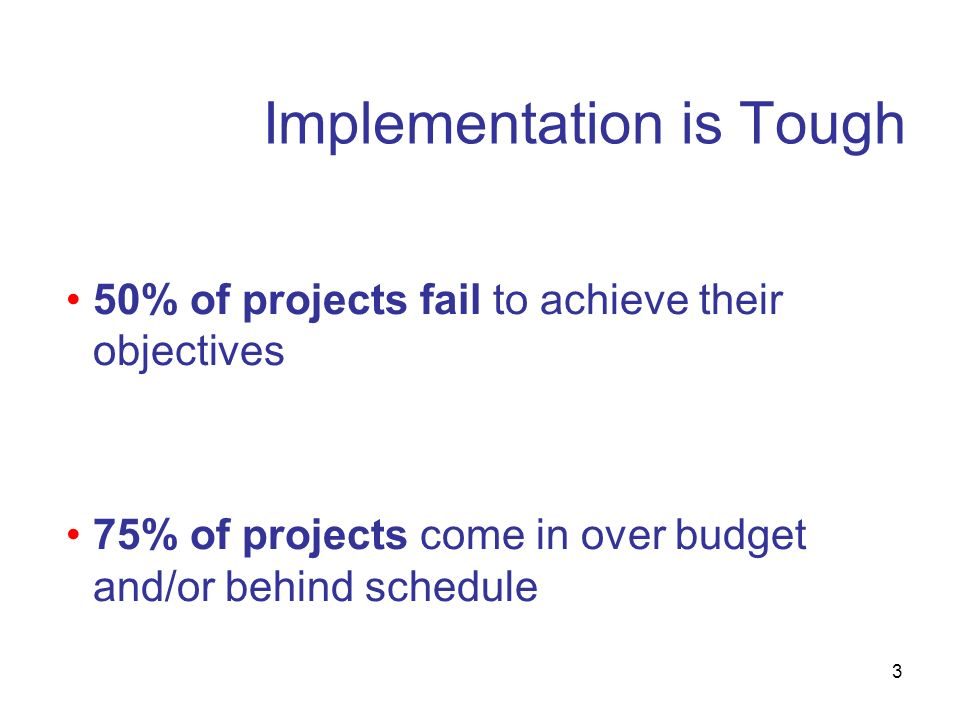 3 Implementation is Tough 50% of projects fail to achieve their objectives 75% of projects come in over budget and/or behind schedule