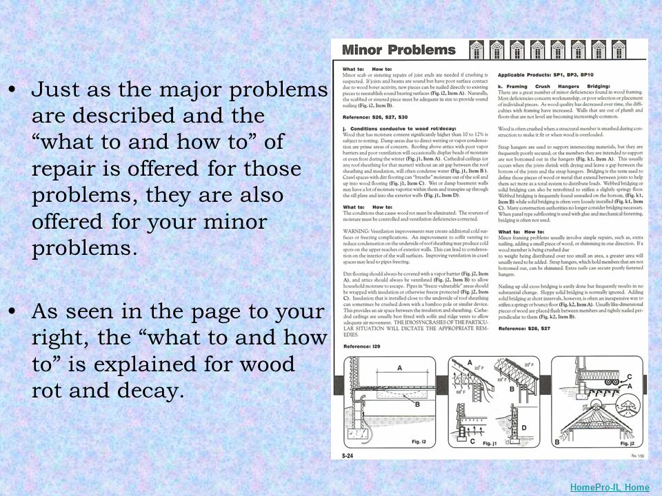 Just as the major problems are described and the what to and how to of repair is offered for those problems, they are also offered for your minor prob
