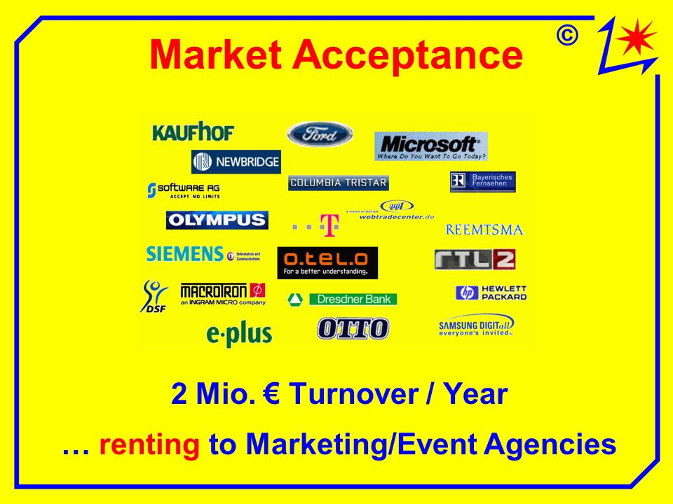 Market Acceptance 2 Mio. Turnover / Year … renting to Marketing/Event Agencies