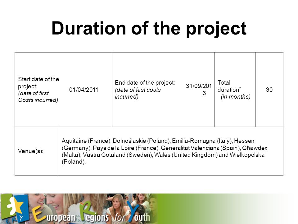 Duration of the project Start date of the project: (date of first Costs incurred) 01/04/2011 End date of the project: (date of last costs incurred) 31/09/201 3 Total duration * (in months) 30 Venue(s): Aquitaine (France), Dolnośląskie (Poland), Emilia-Romagna (Italy), Hessen (Germany), Pays de la Loire (France), Generalitat Valenciana (Spain), Gћawdex (Malta), Västra Götaland (Sweden), Wales (United Kingdom) and Wielkopolska (Poland).