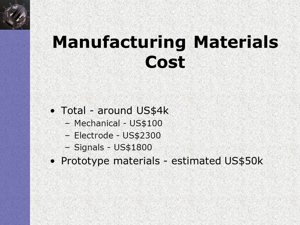 Manufacturing Materials Cost Total - around US$4k –Mechanical - US$100 –Electrode - US$2300 –Signals - US$1800 Prototype materials - estimated US$50k