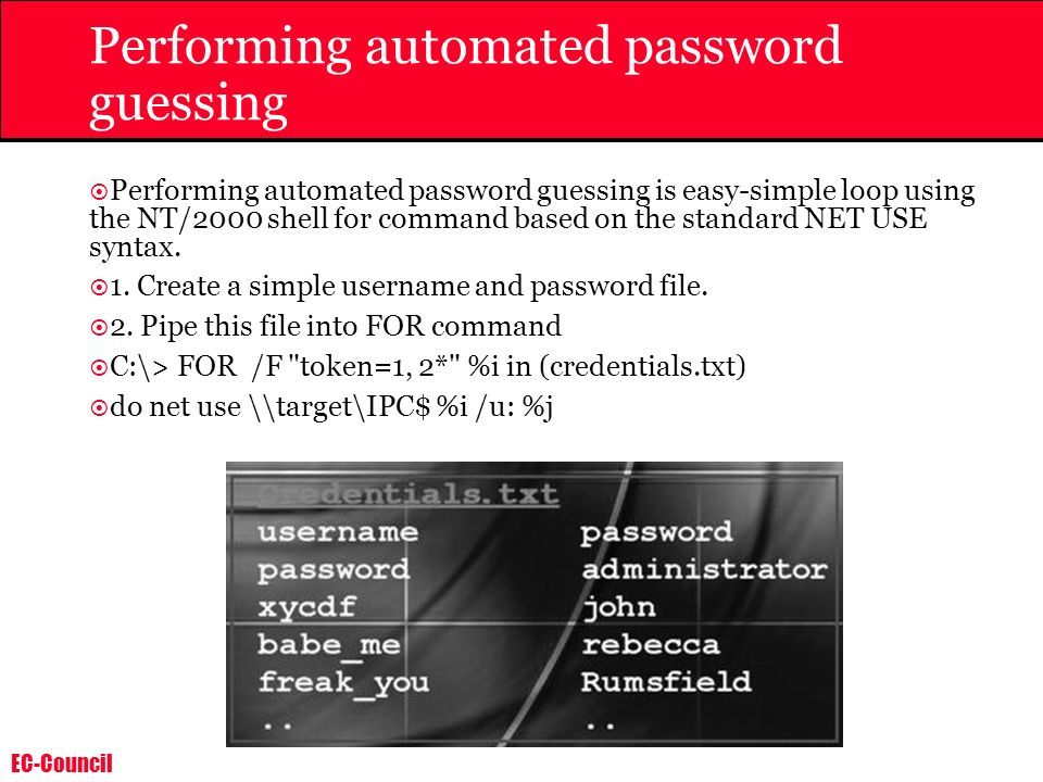 EC-Council Performing automated password guessing Performing automated password guessing is easy-simple loop using the NT/2000 shell for command based
