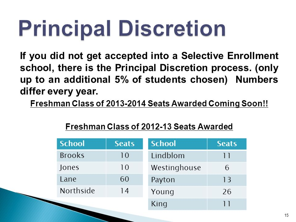 15 If you did not get accepted into a Selective Enrollment school, there is the Principal Discretion process.