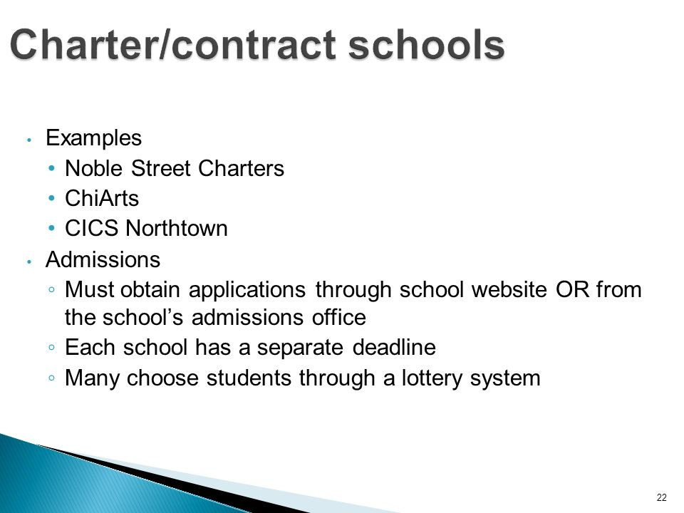 22 Examples Noble Street Charters ChiArts CICS Northtown Admissions Must obtain applications through school website OR from the schools admissions office Each school has a separate deadline Many choose students through a lottery system