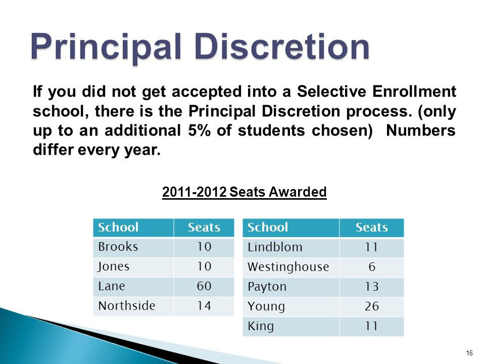 16 If you did not get accepted into a Selective Enrollment school, there is the Principal Discretion process.