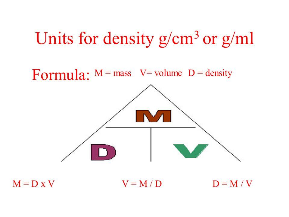 Units for density g/cm 3 or g/ml Formula: M = mass V= volume D = density M = D x V V = M / D D = M / V