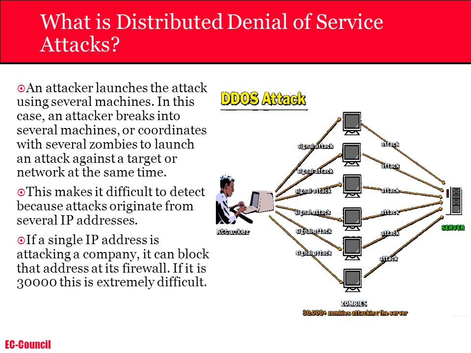 EC-Council Ping of Death An attacker sends a large ping packet to the victim s machine.