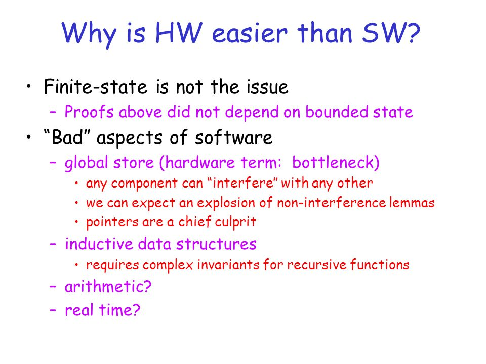 Why is HW easier than SW.