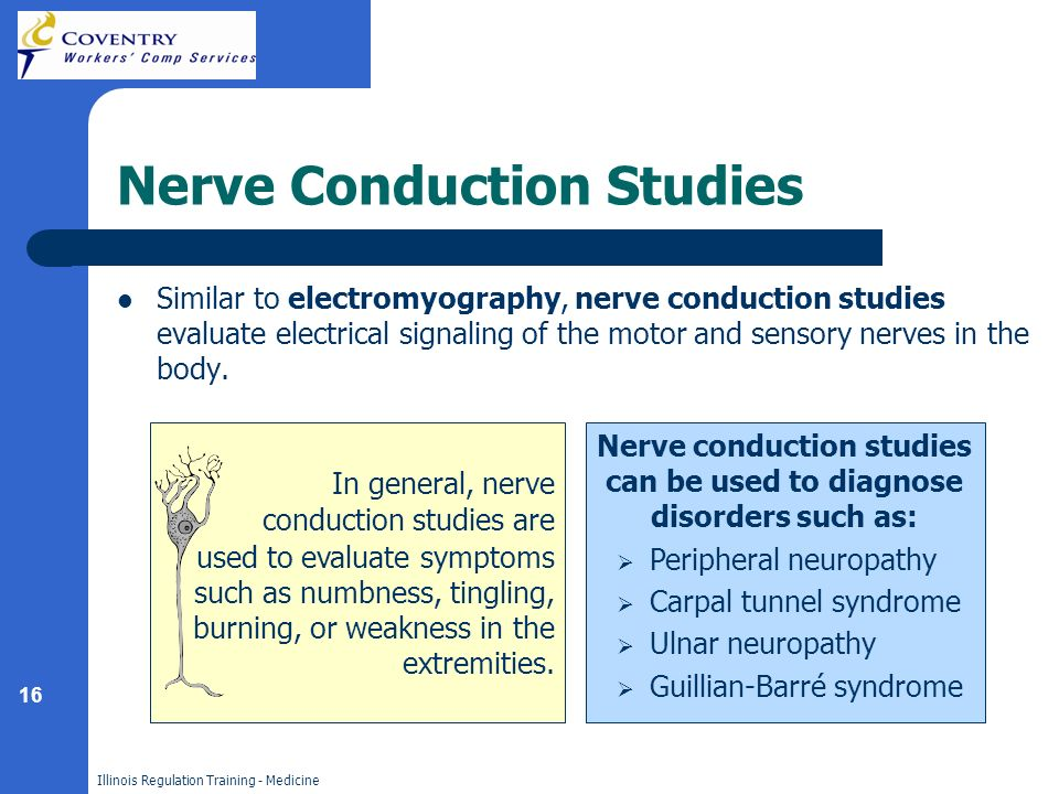 16 Illinois Regulation Training - Medicine Nerve Conduction Studies Similar to electromyography, nerve conduction studies evaluate electrical signaling of the motor and sensory nerves in the body.