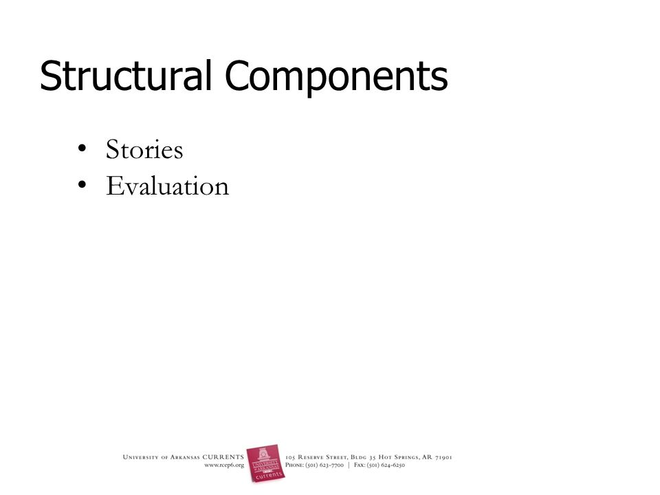 Structural Components Stories Evaluation