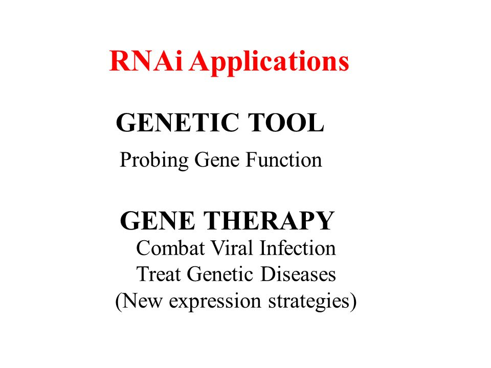 RNAi Applications GENETIC TOOL GENE THERAPY Probing Gene Function Combat Viral Infection Treat Genetic Diseases (New expression strategies)