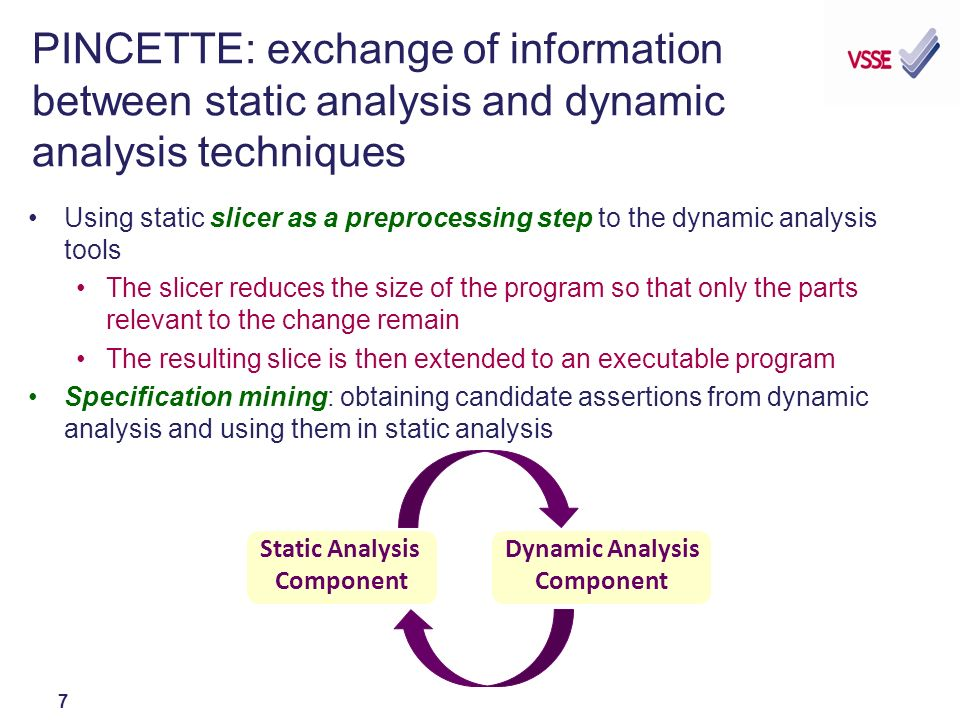 7 PINCETTE: exchange of information between static analysis and dynamic analysis techniques Using static slicer as a preprocessing step to the dynamic