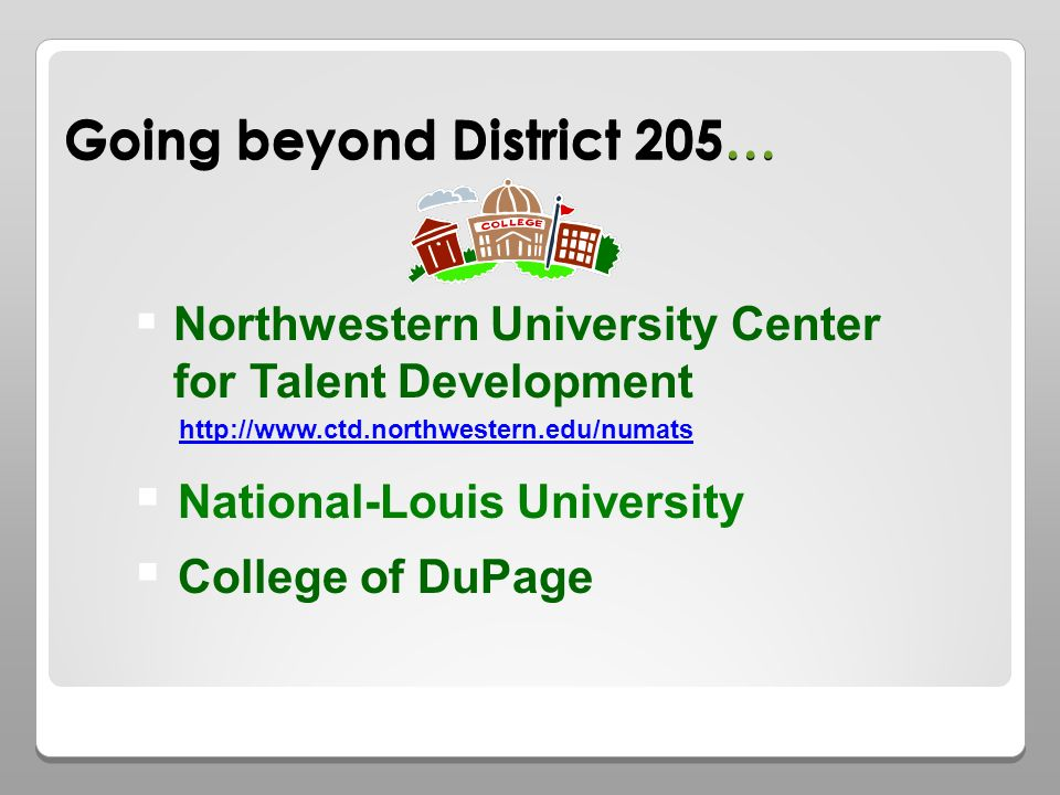 Going beyond District 205… Northwestern University Center for Talent Development National-Louis University College of DuPage http://www.ctd.northwestern.edu/numats