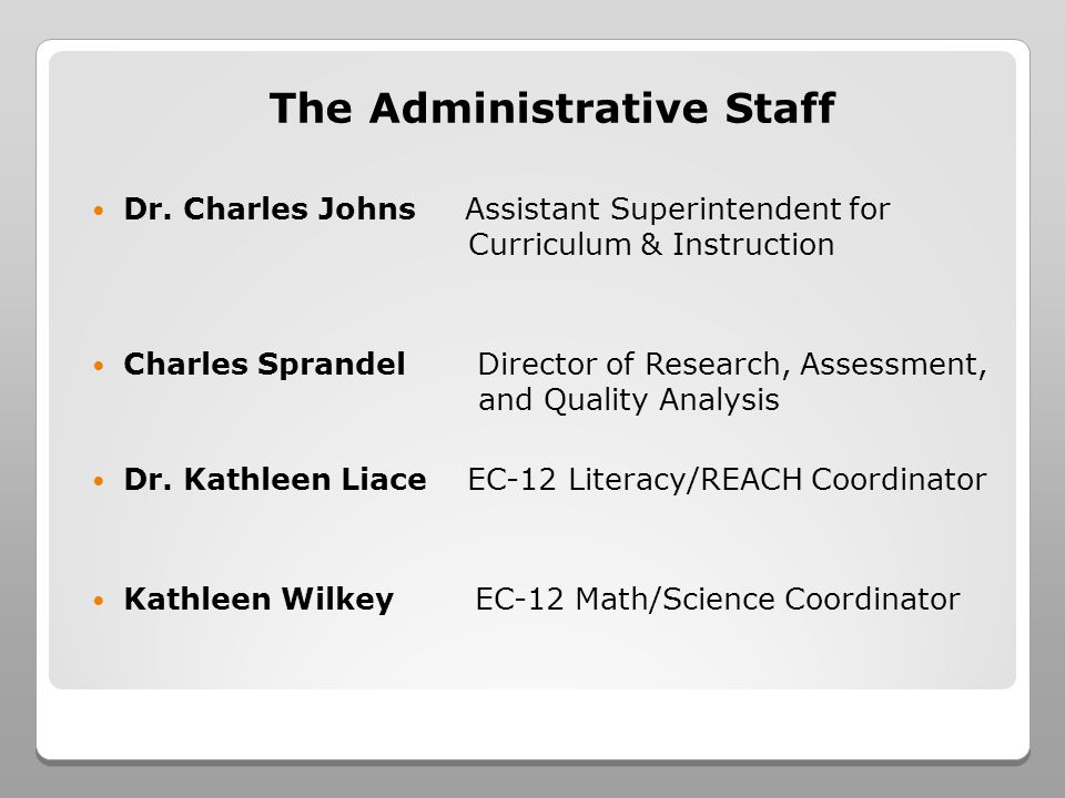 The Administrative Staff Dr. Charles Johns Assistant Superintendent for Curriculum & Instruction Charles Sprandel Director of Research, Assessment, an