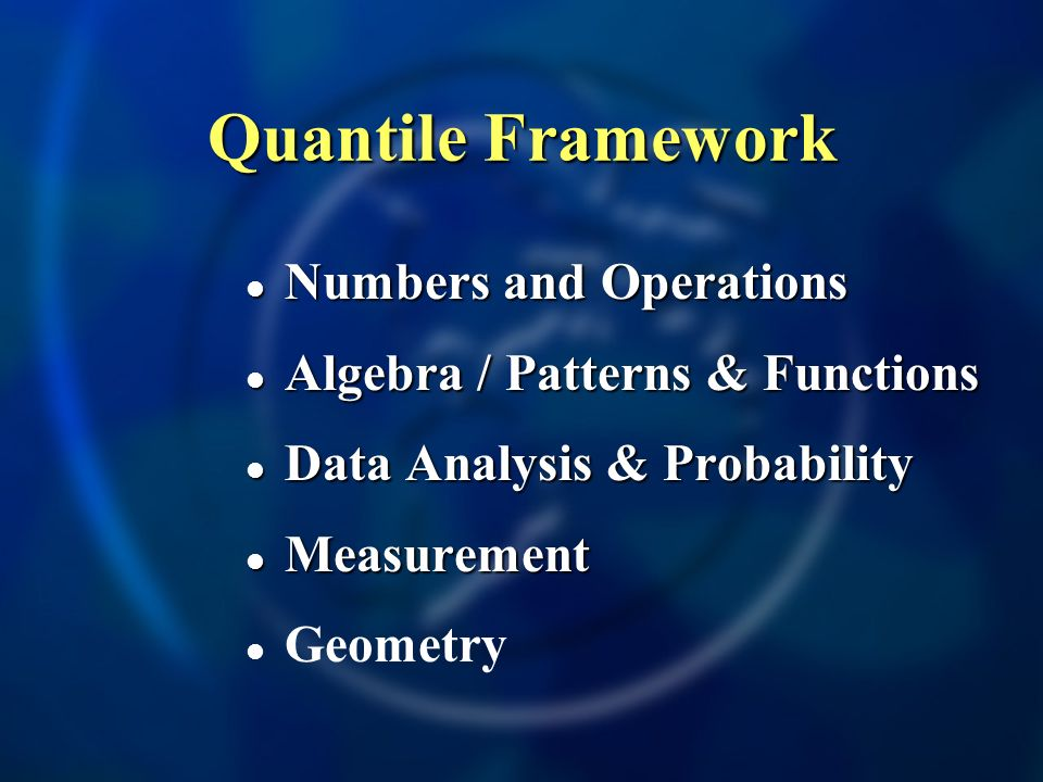 Quantile Framework Numbers and Operations Numbers and Operations Algebra / Patterns & Functions Algebra / Patterns & Functions Data Analysis & Probability Data Analysis & Probability Measurement Measurement Geometry