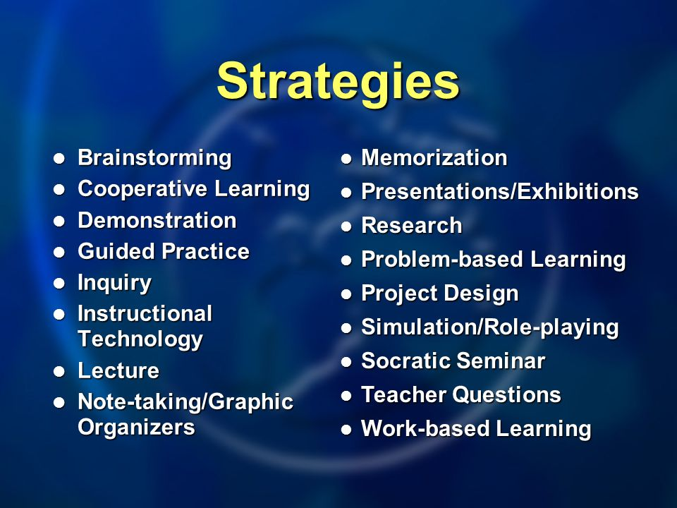 Strategies Brainstorming Brainstorming Cooperative Learning Cooperative Learning Demonstration Demonstration Guided Practice Guided Practice Inquiry Inquiry Instructional Technology Instructional Technology Lecture Lecture Note-taking/Graphic Organizers Note-taking/Graphic Organizers Memorization Memorization Presentations/Exhibitions Presentations/Exhibitions Research Research Problem-based Learning Problem-based Learning Project Design Project Design Simulation/Role-playing Simulation/Role-playing Socratic Seminar Socratic Seminar Teacher Questions Teacher Questions Work-based Learning Work-based Learning