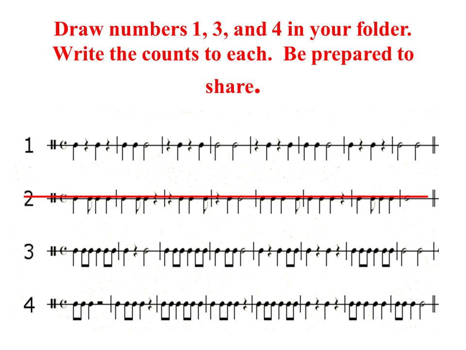 Draw numbers 1, 3, and 4 in your folder. Write the counts to each. Be prepared to share. ___________________________________