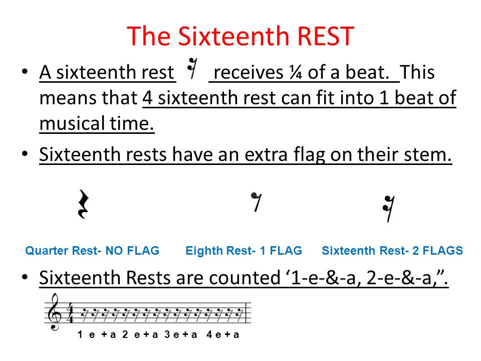 The Sixteenth REST A sixteenth rest receives ¼ of a beat. This means that 4 sixteenth rest can fit into 1 beat of musical time. Sixteenth rests have a