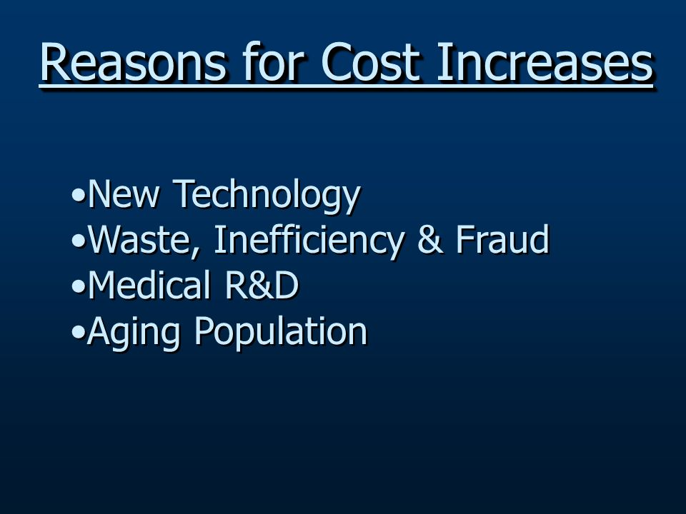 New Technology Waste, Inefficiency & Fraud Medical R&D Aging Population New Technology Waste, Inefficiency & Fraud Medical R&D Aging Population Reasons for Cost Increases